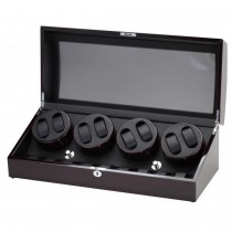 Ebony Finish Wood Eight Watch Winder & Watch Storage Case