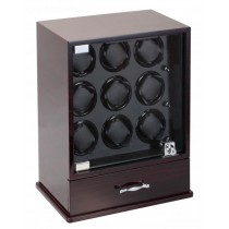 Ebony Wood 9 Watch Winder and Watch Storage Box