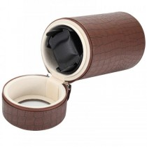 Brown Leather Crocodile Print Single Travel Watch Winder