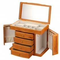 Oak Wood Jewelry Chest w/ Interior Mirror