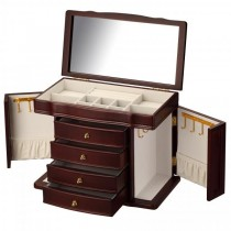 Cherry Wood Jewelry Chest w/ Interior Mirror
