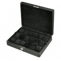 Men's 18 Watch Box Case & Removable Trays in Patterned Black