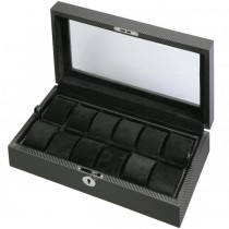 Men's 12 Watch Box Storage w/ Removable Tray & Display Top