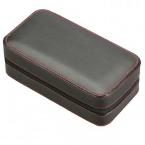 Two Watch Travel Case Pouch in Black Leather w/ Red Stitching
