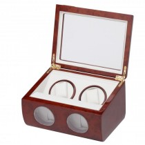 Double Watch Winder w/ Watching Storage in Cherry Wood