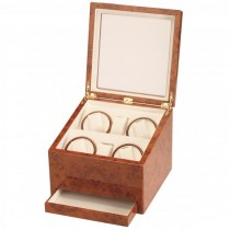 Quad Watch Winder w/ Watching Storage in Cherry Wood