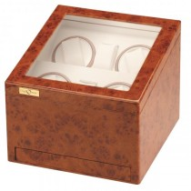 Quad Watch Winder w/ Watching Storage in Cherry Wood|escape