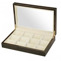 Glass Top Black Wood 12 Pocket Watch Box Storage