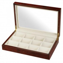 Glass Top Burl Wood 12 Pocket Watch Box Storage