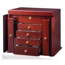 Teak Wood Woman's Jewelry Box Chest w/ Mirror