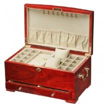 Teak Wood Woman's Jewelry Box Case w/ Lock