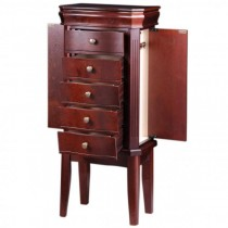 Women's Standing Jewelry Armoire w/ Mirror in Cherrywood