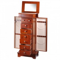 Women's Standing Jewelry Armoire w/ Mirror in Mahogany