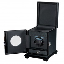 Single Square Watch Winder & Jewelry Storage Lid in Carbon Fiber