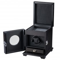 Single Square Watch Winder Rustic Brown Wood & Black Leather Interior