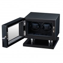 Double Watch Winder High Gloss Carbon Fiber & Black Leather Interior