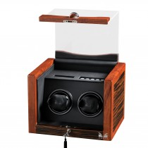 Double Watch Winder Rustic Ebony Rosewood & Black Leather Interior