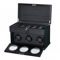 High Gloss Carbon Fiber Triple Watch Winder & Black Leather Interior
