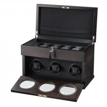 Matte Brown Wooden Triple Watch Winder & Black Leather Interior