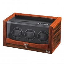 Rustic Ebony Rosewood Triple Watch Winder & Black Leather Interior