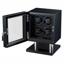 High Gloss Carbon Fiber Four Watch Winder & Black Leather Interior