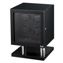 High Gloss Carbon Fiber Four Watch Winder & Black Leather Interior|escape