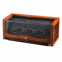 Rustic Ebony Rosewood Wooden Four Watch Winder & Black Leather Interior