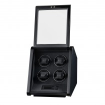 Gloss Carbon Fiber Slanted Four Watch Winder w/ Black Leather Interior