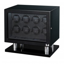 High Gloss Carbon Fiber Eight Watch Winder w/ Black Leather Interior