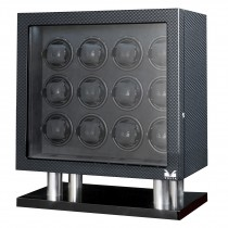 High Gloss Carbon Fiber Twelve Watch Winder w/ Black Leather Interior