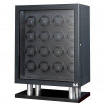 High Gloss Carbon Fiber Sixteen Watch Winder w/ Black Leather Interior
