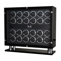 High Gloss Carbon Fiber Twenty-four Watch Winder Black Leather Interior|escape