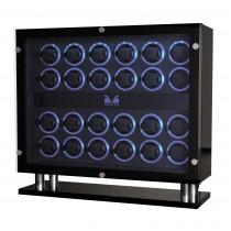 High Gloss Carbon Fiber Twenty-four Watch Winder Black Leather Interior