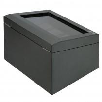 Matte Carbon Fiber Eight Watch Box Black Leather Interior & Storage