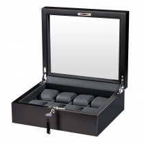 Matte Rustic Brown Finish Eight Watch Box Black Leather Interior