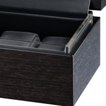 Matte Charcoal Grain Pattern Six Watch Case & Black Leather Interior