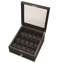 Matte Carbon Fiber Finish Fifteen Watch Case & Black Leather Interior
