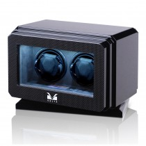 High Gloss Carbon Fiber Rotating Base Double Watch Winder Suede Interior