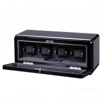 High Gloss Carbon Fiber Four Watch Winder Glass Window & Suede Interior