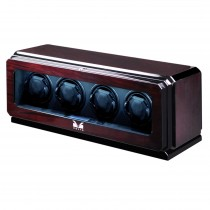 High Gloss Rosewood Four Watch Winder w/ Glass Window & Suede Interior