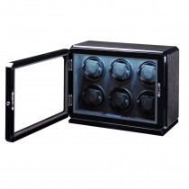 High Gloss Black Oak Six Watch Winder w/ Glass Window & Suede Interior