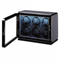 High Gloss Carbon Fiber Six Watch Winder Glass Window & Suede Interior