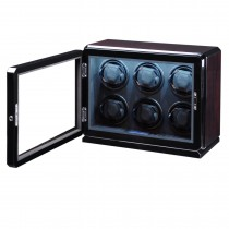 High Gloss Rosewood Six Watch Winder w/ Glass Window & Suede Interior