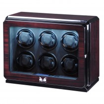 High Gloss Rosewood Six Watch Winder w/ Glass Window & Suede Interior|escape