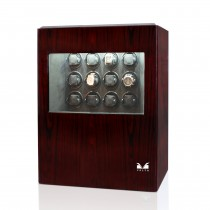 High Gloss Rosewood Twelve Watch Winder w/ Glass Window & Suede Interior