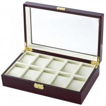 10 Watch Box Case in Cherrywood w/ Locking Lucite Display Top