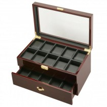 Two Tier 20 Watch Box Case in Ebony Wood w/ Locking Lucite Display Top
