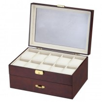 10 Watch Box w/ Pen & Cufflink Storage in Mahogany Wood
