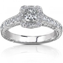 Vintage Style Princess Cut Diamond Engagement Ring 14K W Gold 0.75ct|escape