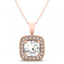 Diamond Halo Cushion Pendant Necklace 14k Rose Gold (1.48ct)